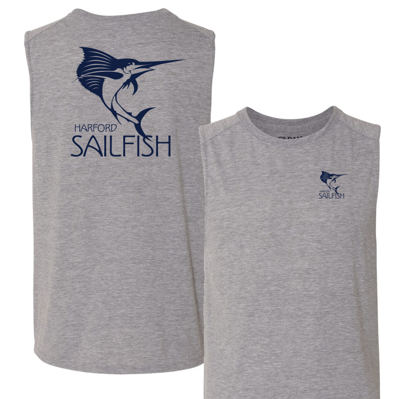 Harford Sailfish Mens Moisture Wicking Muscle Tank Top - Sport Grey