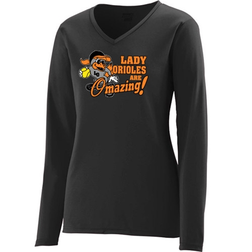 7a214c07 SwagDog.com - Lady Orioles Girls' Black Long Sleeve Wicking Shirt - Pitcher  Design