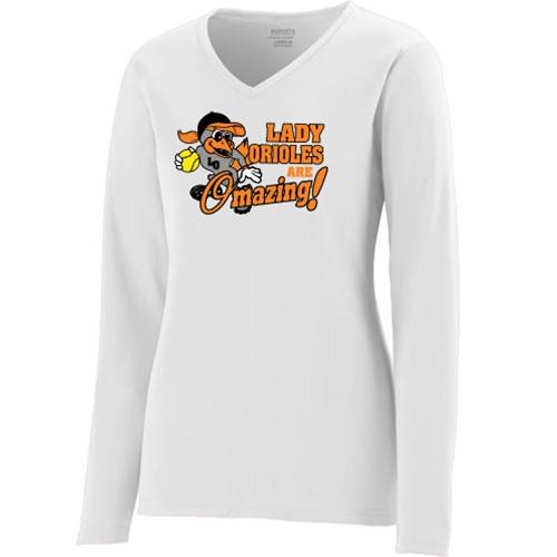 16ab2af7 Lady Orioles Girls' White Long Sleeve Wicking Shirt - Pitcher Design. Lady  Orioles Black/Orange Pants