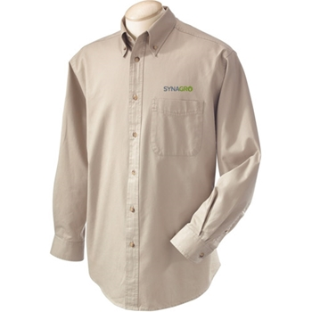 SYNAGRO Men's Long-Sleeve Titan Twill Dress Shirt