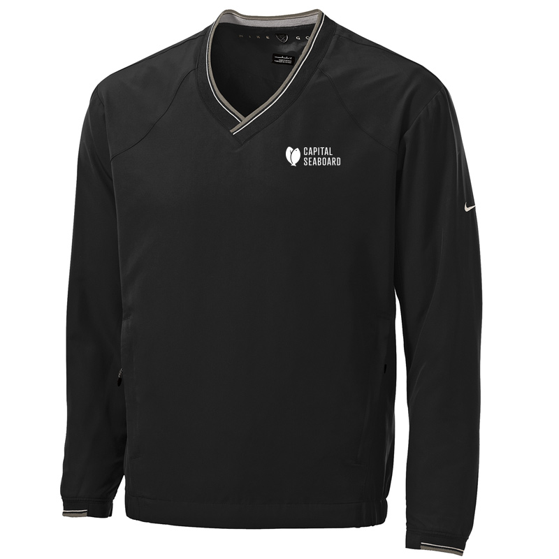 Capital Seaboard Nike Golf V-Neck Wind Shirt-Black