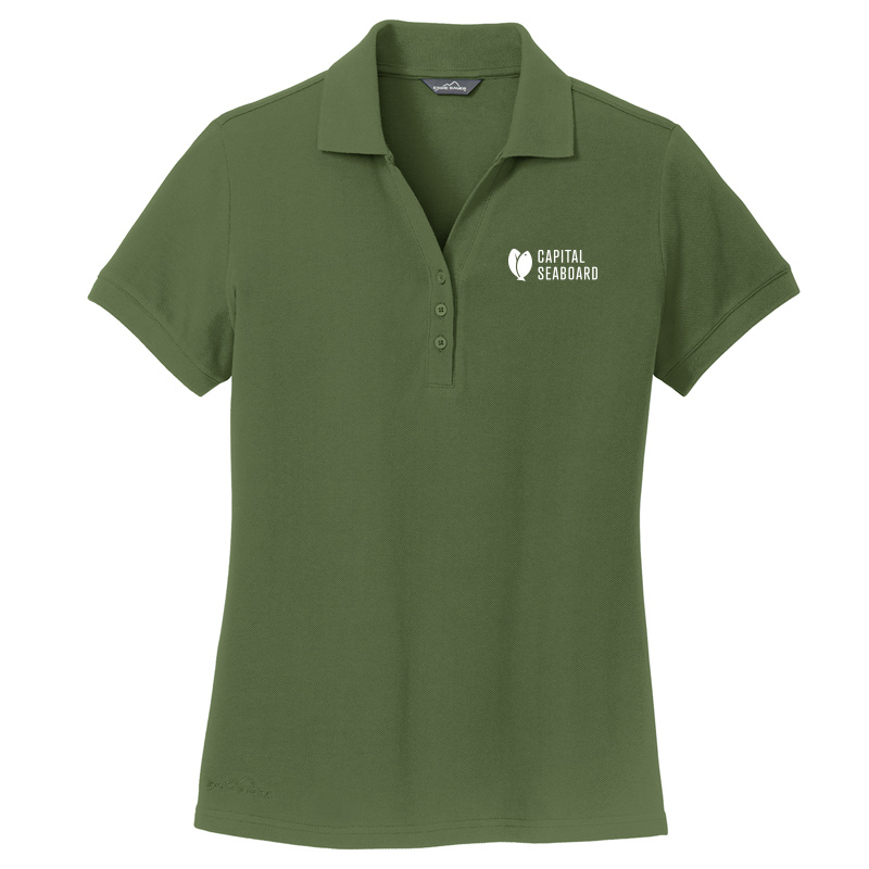 Capital Seaboard Eddie Bauer Cotton Pique Polo Womens-Everngreen