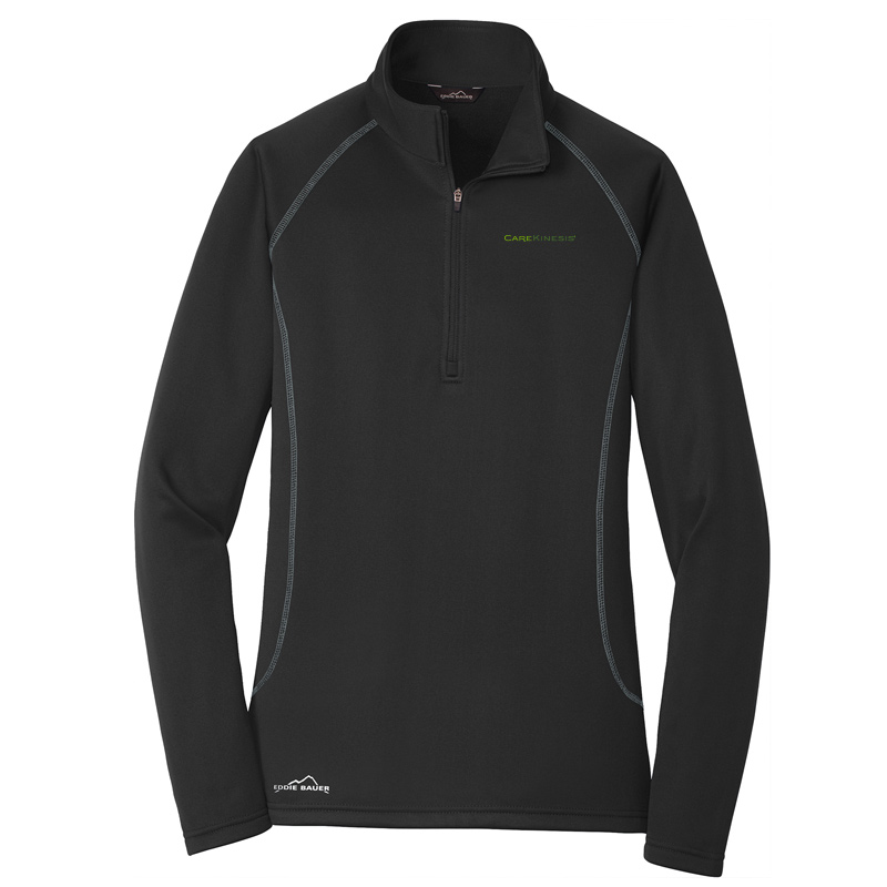 CareKinesis Eddie Bauer® Ladies Smooth Fleece Base Layer 1/2-Zip - Black