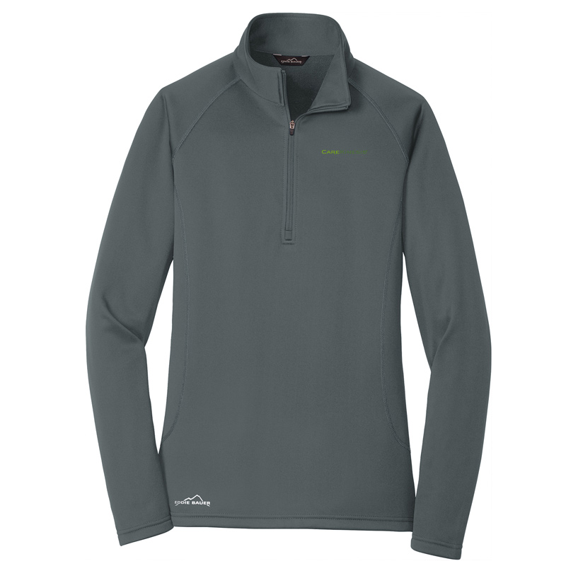 CareKinesis Eddie Bauer® Ladies Smooth Fleece Base Layer 1/2-Zip - IronGate