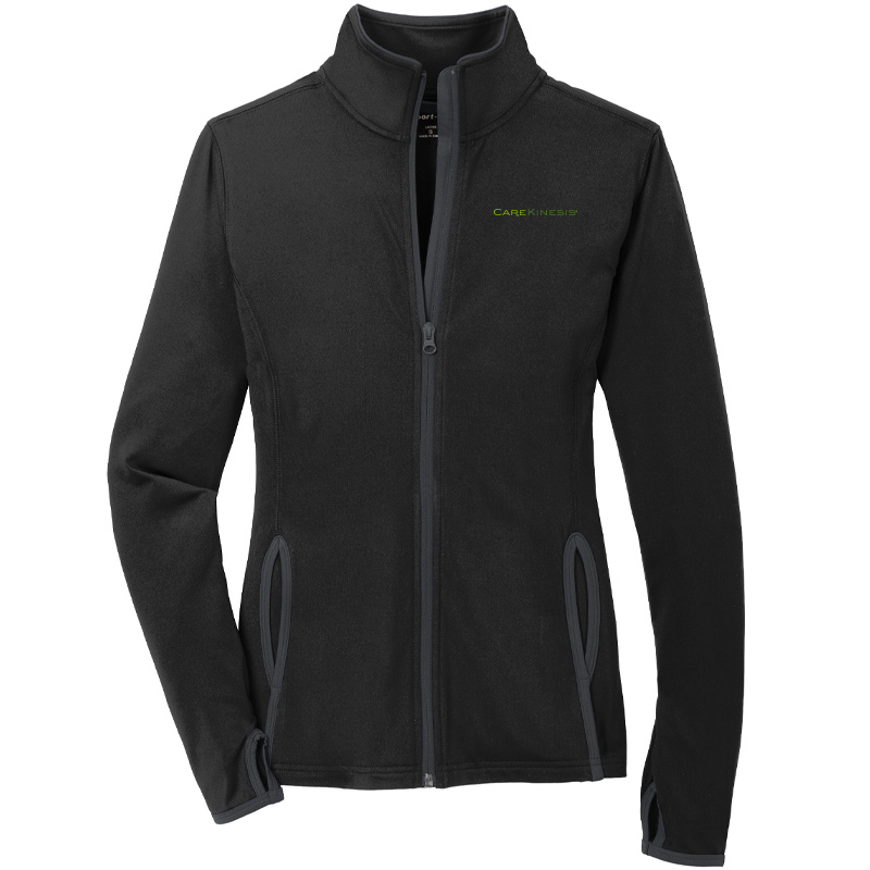CareKinesis Sport-Tek® Ladies Sport-Wick® Stretch Contrast Full-Zip Jacket - Black/Charcoal