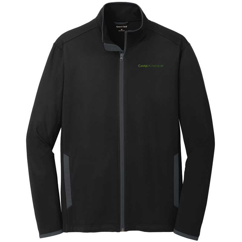 CareKinesis Sport-Tek® Sport-Wick® Stretch Contrast Full-Zip Jacket - Black/Charcoal