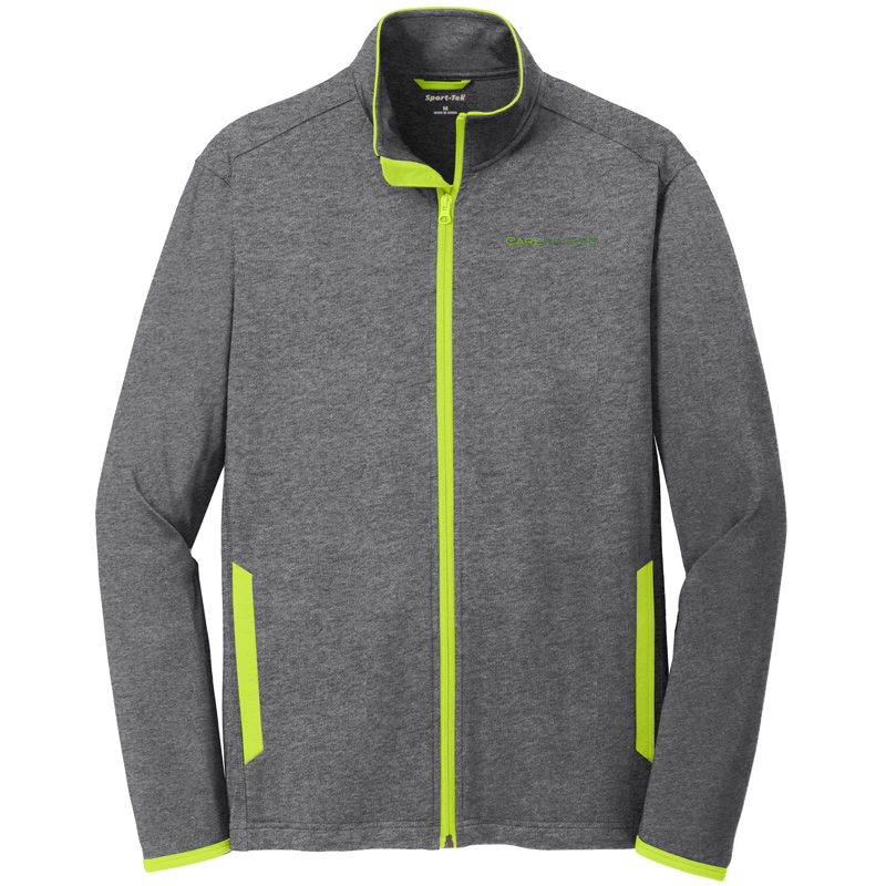 CareKinesis Sport-Tek® Sport-Wick® Stretch Contrast Full-Zip Jacket - CharcoalChargeGreen