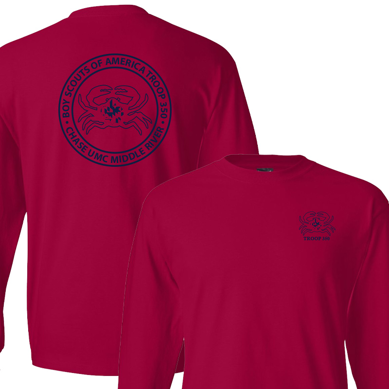 BSA 350 Long Sleeve T-Shirt - Deep Red