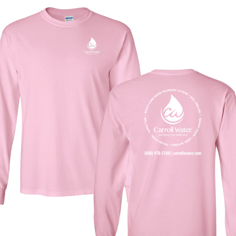 Carroll Water (Youth Colors) 100% Cotton Long Sleeve Tee - Lt. Pink