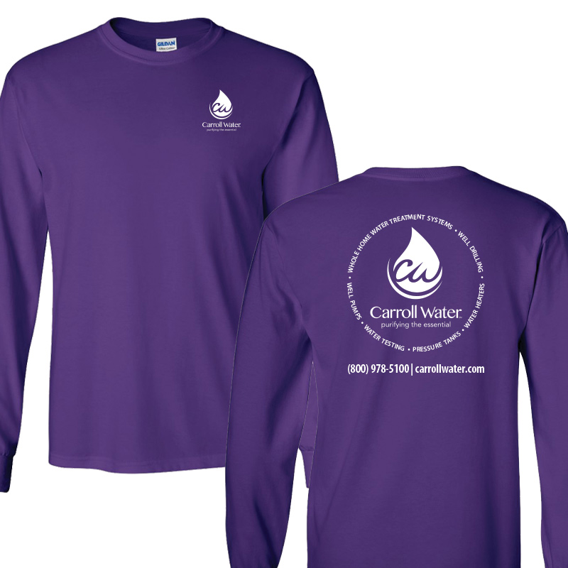 Carroll Water (Youth Colors) 100% Cotton Long Sleeve Tee - Purple