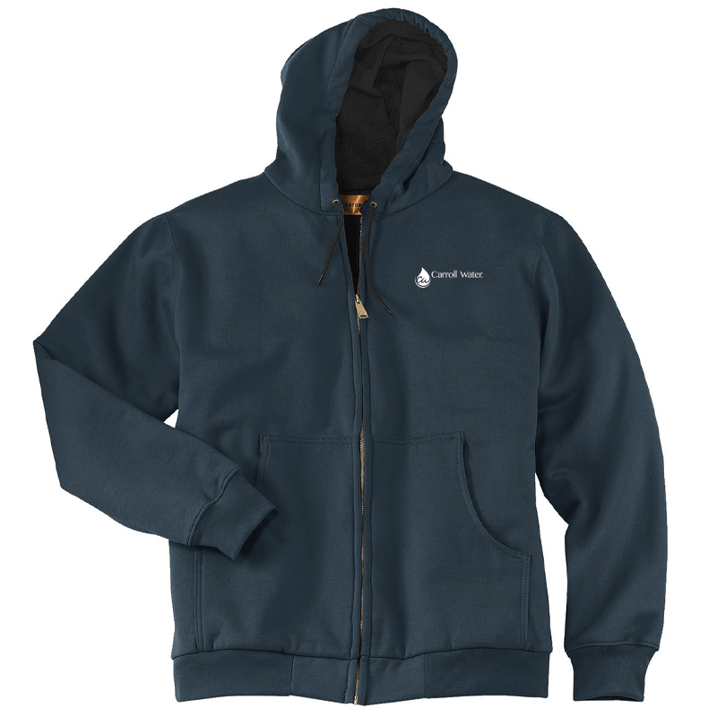 Carroll Water CornerStone® - Heavyweight Full-Zip Hooded Sweatshirt with Thermal Lining - Navy- White Logo