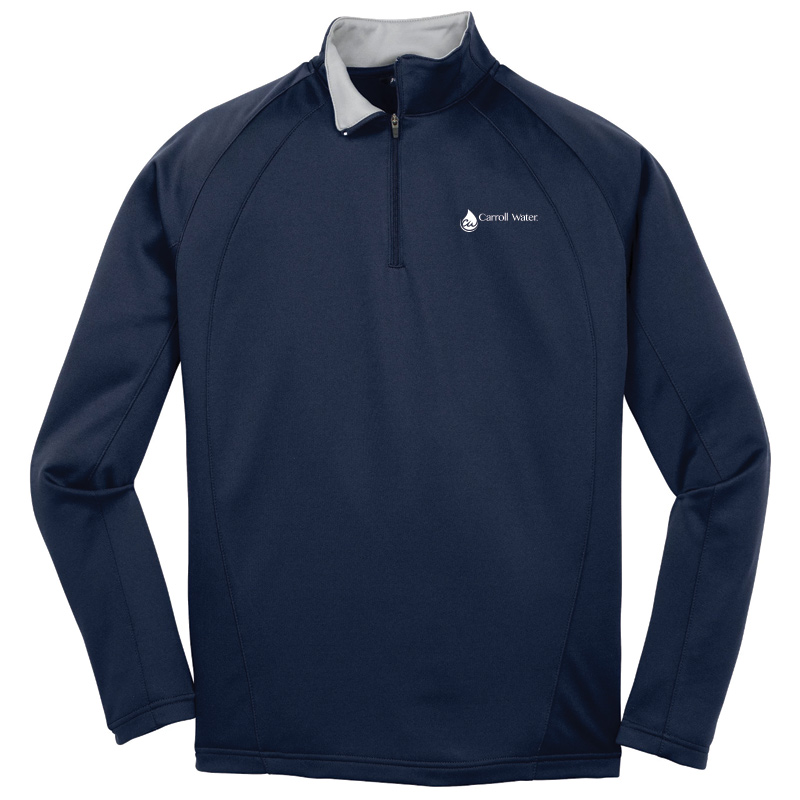 Carroll Water Sport-Tek® Sport-Wick® Fleece Quarter-Zip Pullover - Navy- White Logo