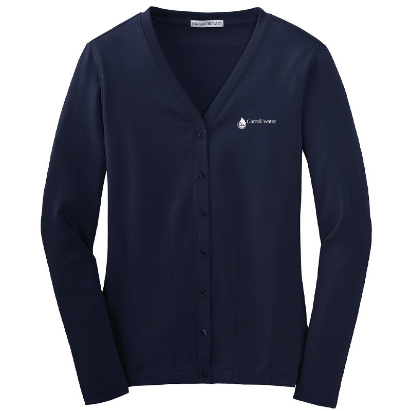 Carroll Water Port Authority® Ladies Modern Stretch Cotton Cardigan - Navy- White Logo