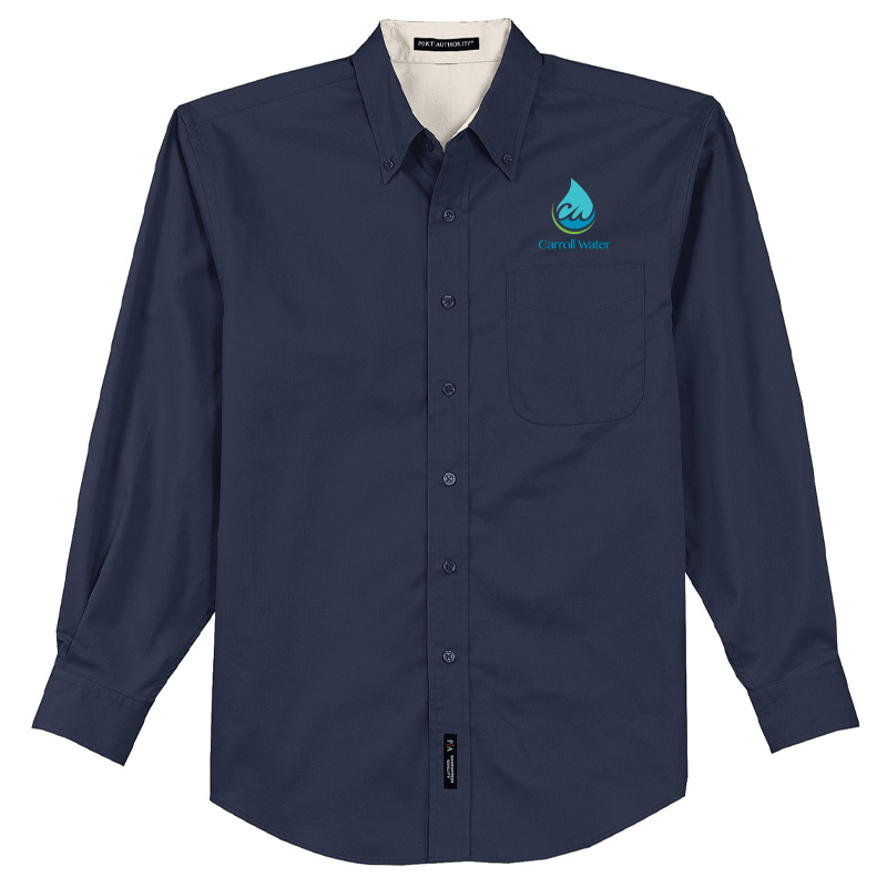 Carroll Water Port Authority® Long Sleeve Easy Care Shirt - White & Navy