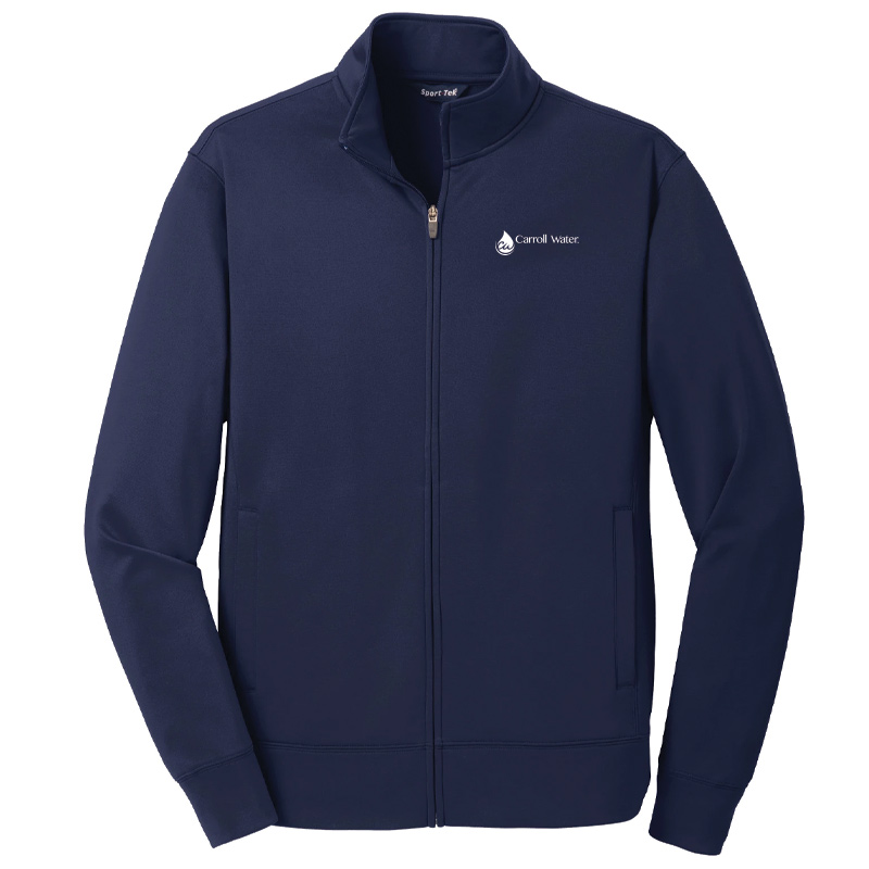Carroll Water Sport-Tek® Sport-Wick® Fleece Full-Zip Jacket - Navy- White Logo
