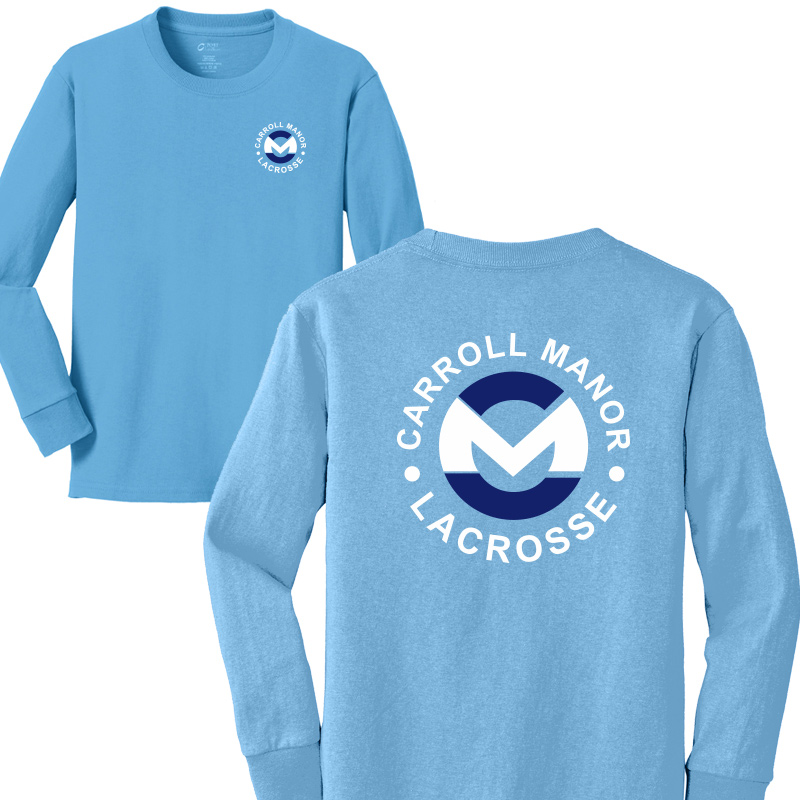 CMRC Lax  Long Sleeve Core Cotton Tee - Aquatic Blue