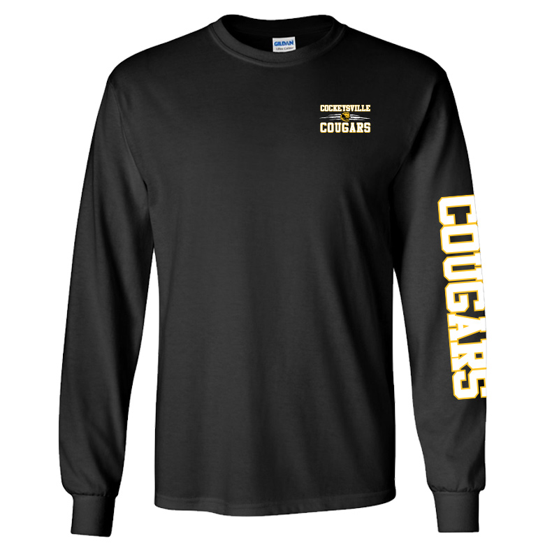 CMS Gildan Ultra Cotton® 6 oz. Long-Sleeve T-Shirt - Black