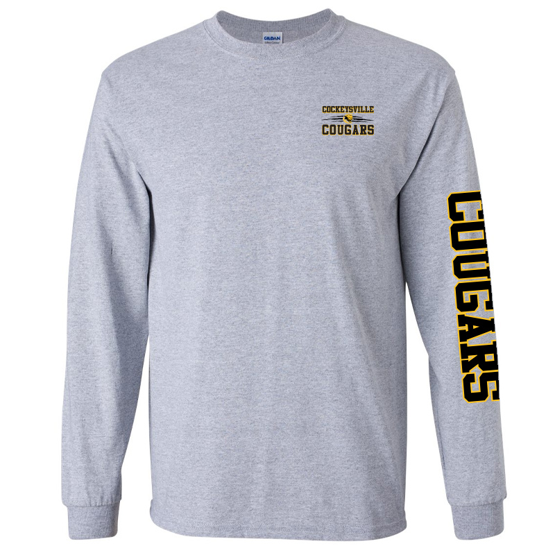 CMS Gildan Ultra Cotton® 6 oz. Long-Sleeve T-Shirt - Sport Grey