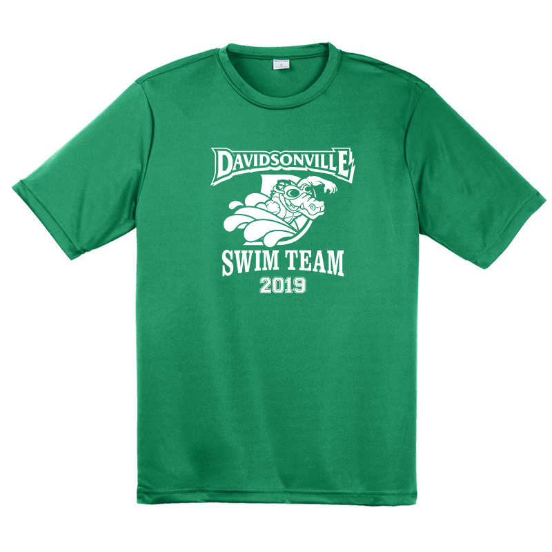 DES Swim Team Mens Competitor Tee  - Green