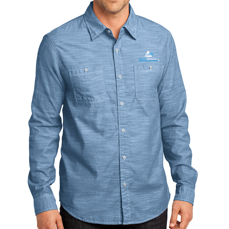 IntelliGenesis District Made Men's Long Sleeve Washed Woven Shirt
