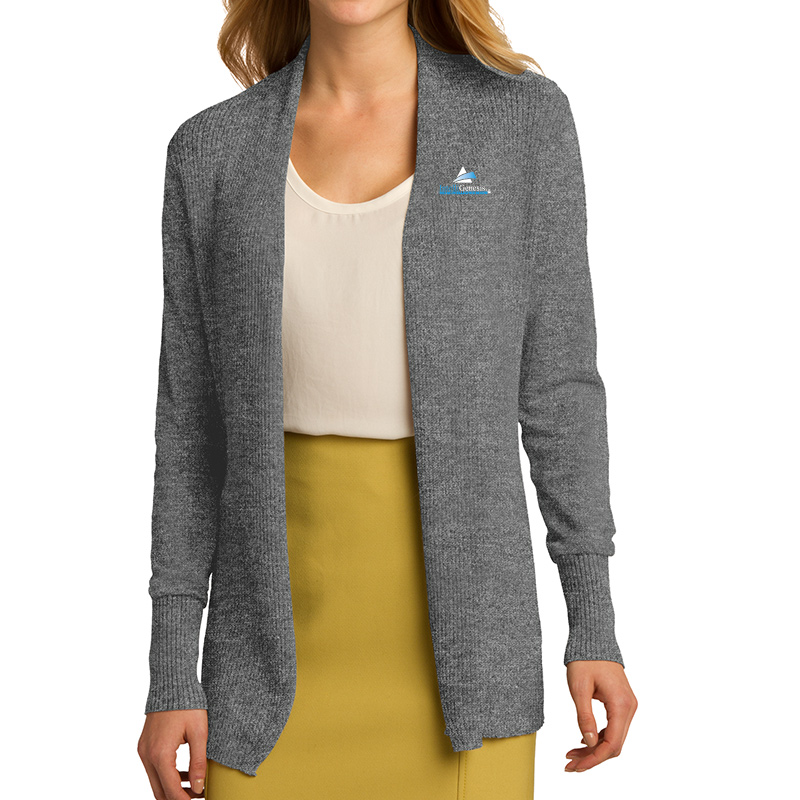 IntelliGenesis Port Authority Ladies Open Front Cardigan Sweater - Grey