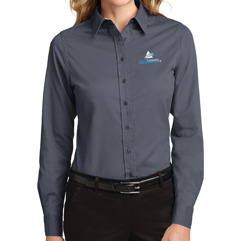 IntelliGenesis Port Authority Ladies Long Sleeve Easy Care Shirt - Steel