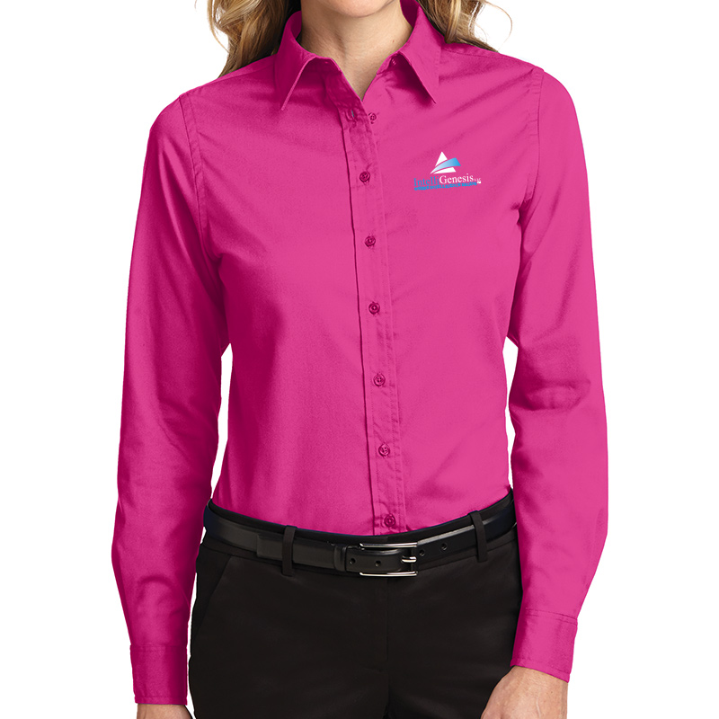 IntelliGenesis Port Authority Ladies Long Sleeve Easy Care Shirt - Pink