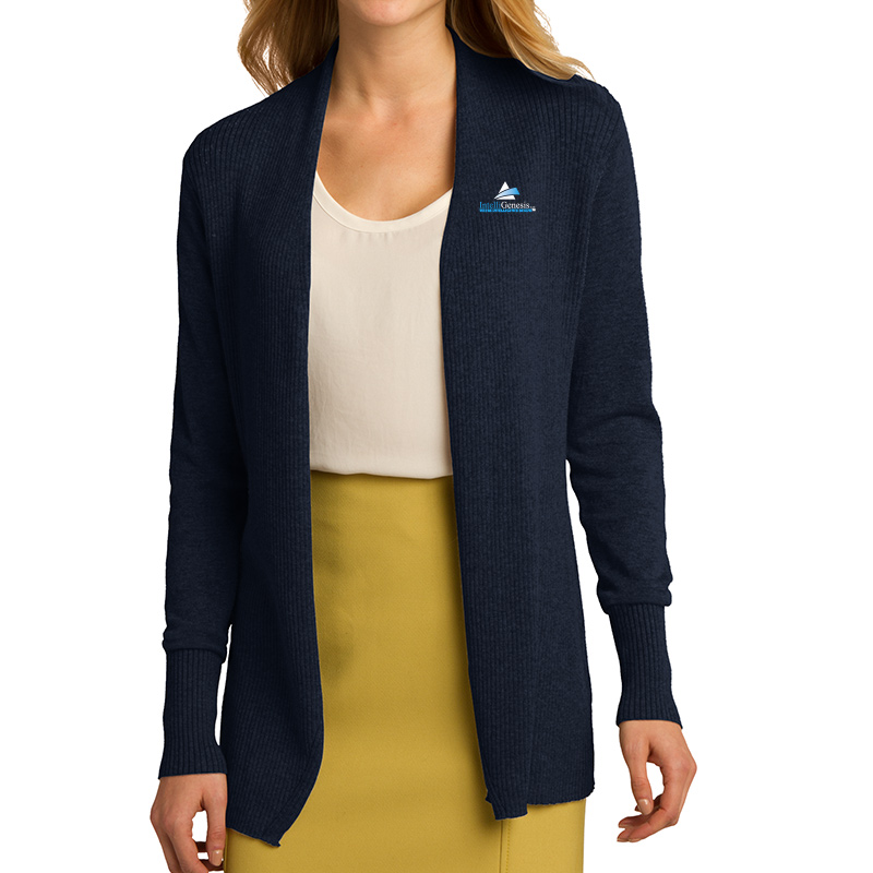 IntelliGenesis Port Authority Ladies Open Front Cardigan Sweater - Navy