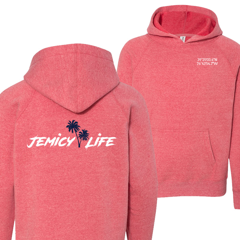 Jemicy Life  Raglan Hooded Pullover -Pomegranate
