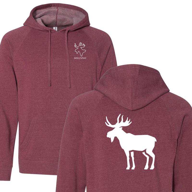 Jemicy Moose Unisex Special Blend Raglan Hooded Sweatshirt - Crimson