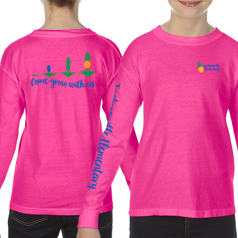 JES Come Grow With US Long Sleeve Tee - Neon Pink
