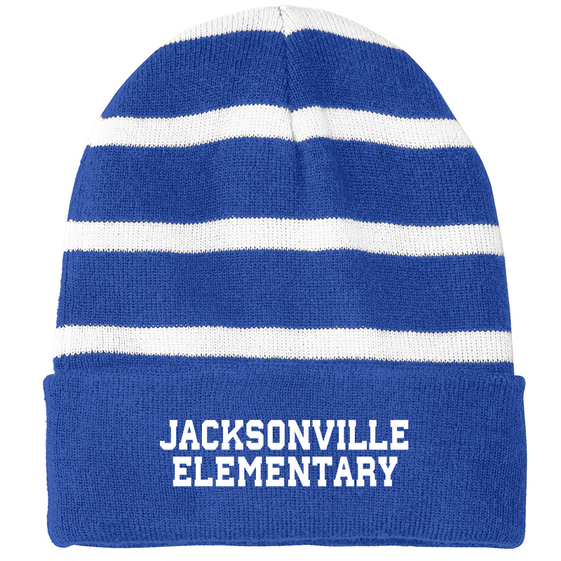 Jacksonville Elementary  Striped Beanie with Solid Band - True Royal/ White