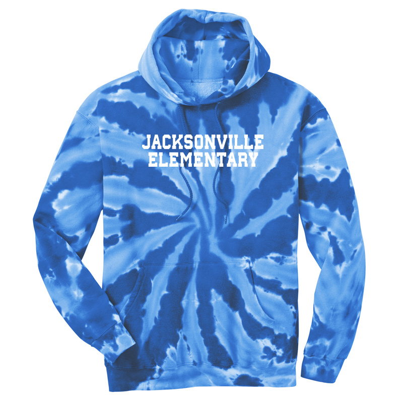 Jacksonville Elementary Text  Tie-Dye Pullover Hooded Sweatshirt - Royal