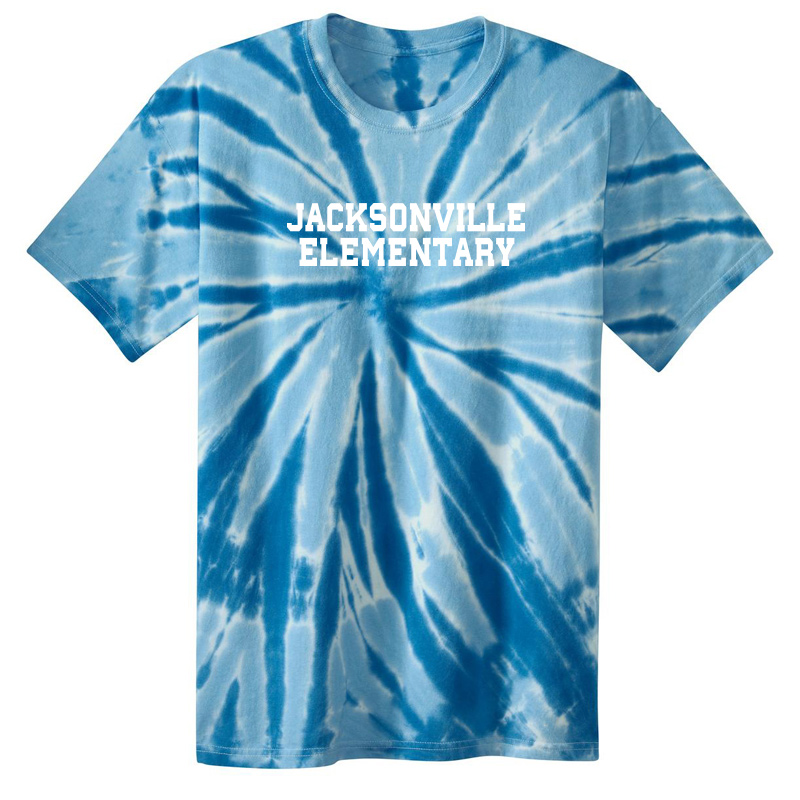 Jacksonville Elementary Text  Tie-Dye Short Sleeve Tee - Royal