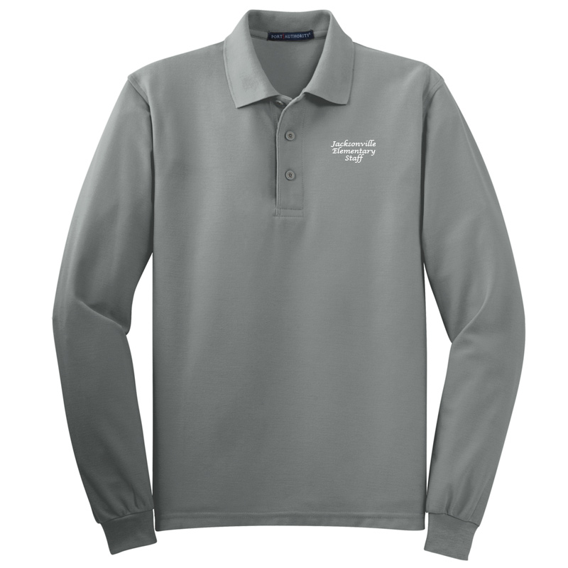 JES  Silk Touch™ Long Sleeve Polo Polo - Cool Grey