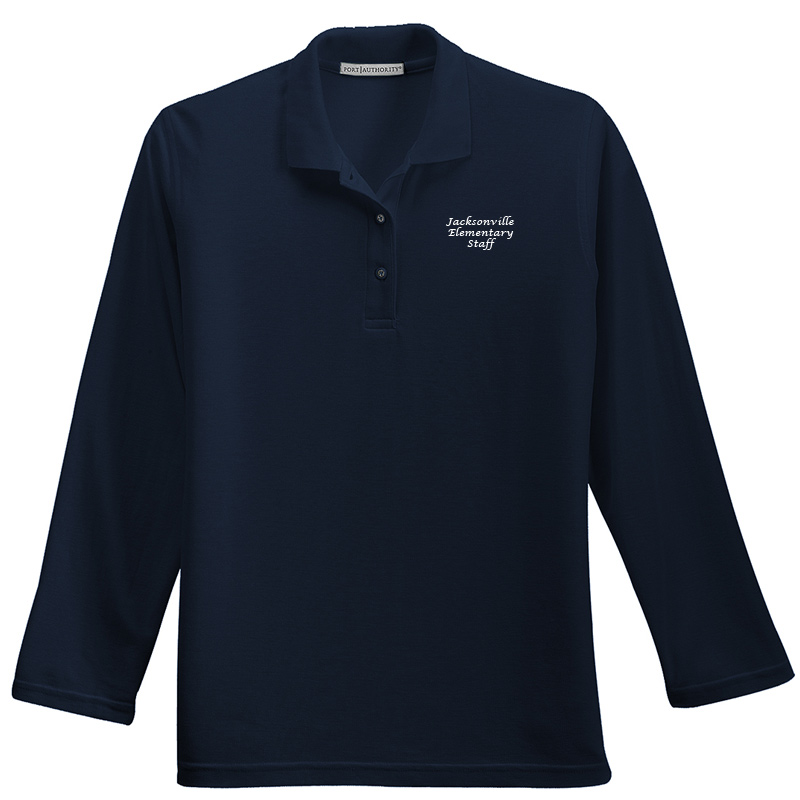 JES  Ladies Silk Touch™ Long Sleeve Polo Polo - Navy