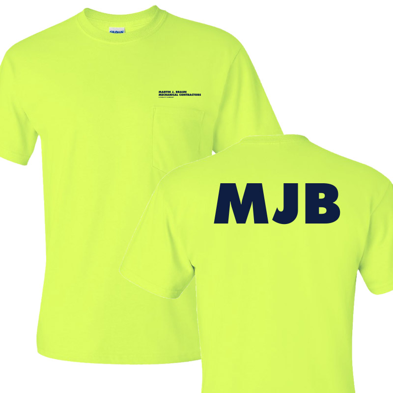 MJB Short Sleeve Pocket Tee - Safety Green
