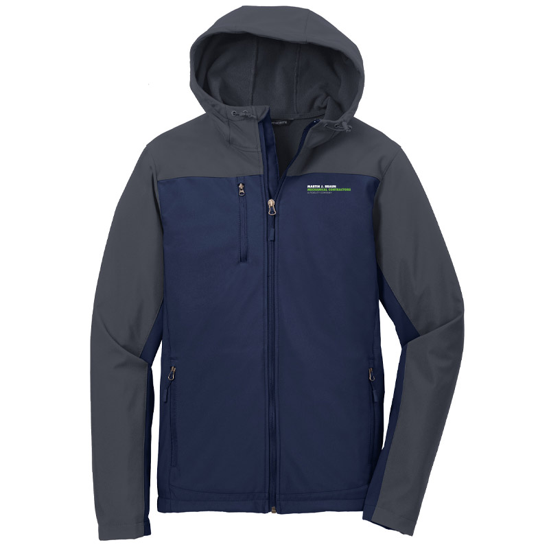 MJB Hooded Core Soft Shell Jacket - Navy/Grey