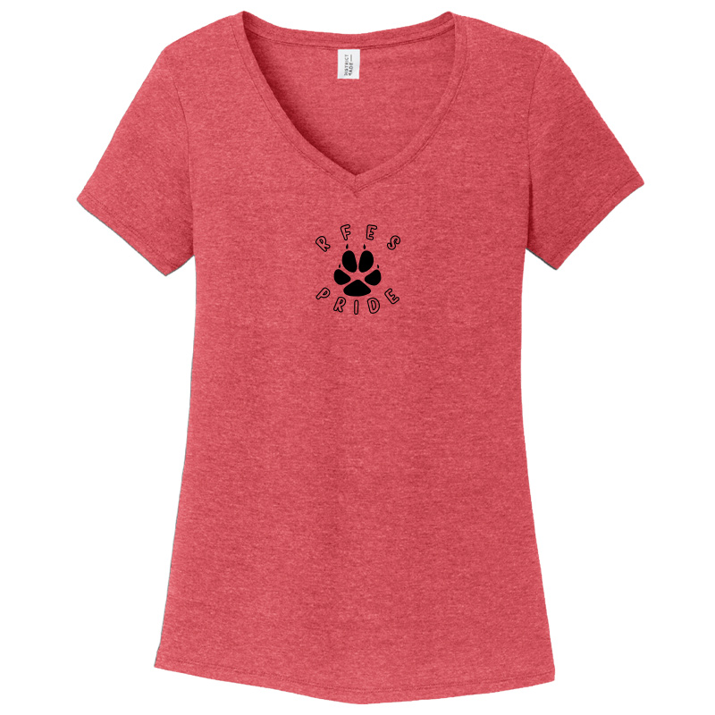 Ring Factory Elementary Women's Perfect Tri V-Neck Tee - Red Frost