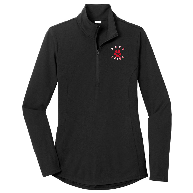 Ring Factory Elementary Ladies PosiCharge Tri-Blend Wicking Quarter Zip Pullover - Black
