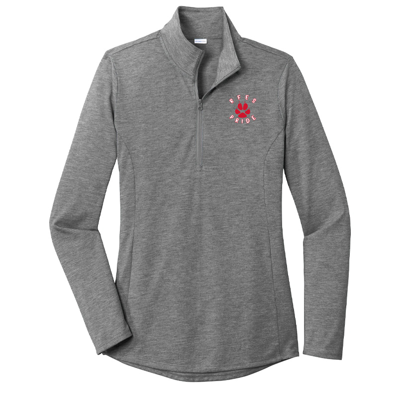 Ring Factory Elementary Ladies PosiCharge Tri-Blend Wicking Quarter Zip Pullover - Dark Grey Heather