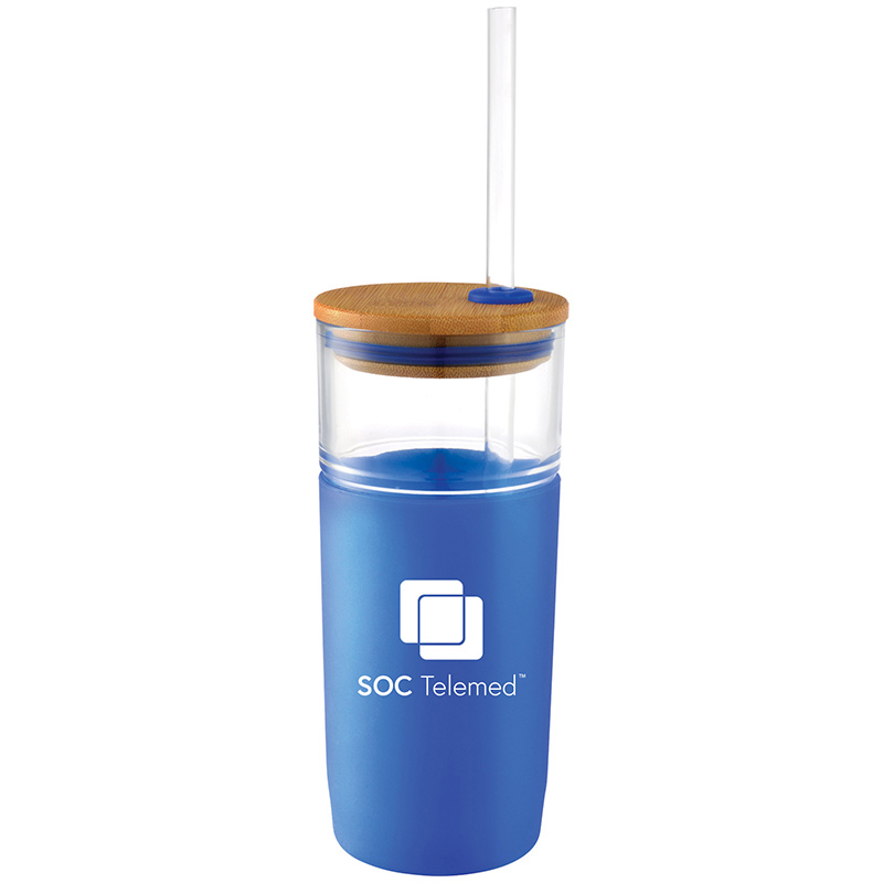 SOC Telemed Poppi Glass Tumbler 20 Oz - Blue