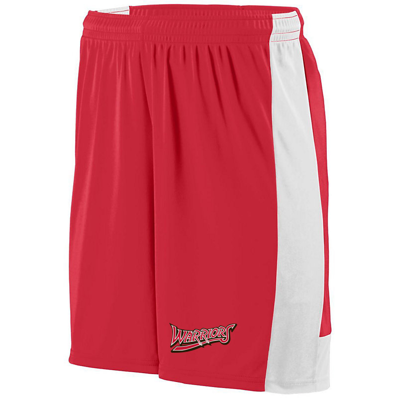 White Marsh Warriors Wicking Lightning Shorts-Red