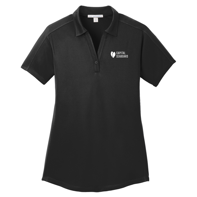 Capital Seaboard Diamond Jacquard Polo - Womens-Black