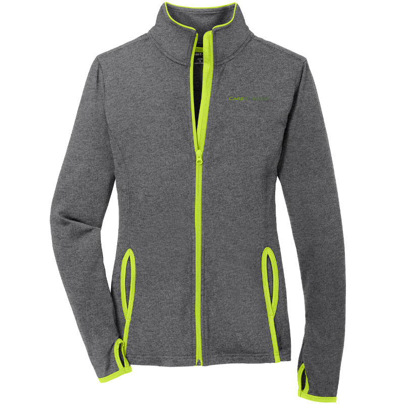 CareKinesis Sport-Tek® Ladies Sport-Wick® Stretch Contrast Full-Zip Jacket - CharcoalChargeGreen