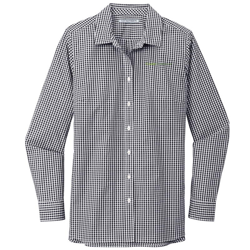 CareKinesis Port Authority ® Ladies Broadcloth Gingham Easy Care Shirt - Black/White