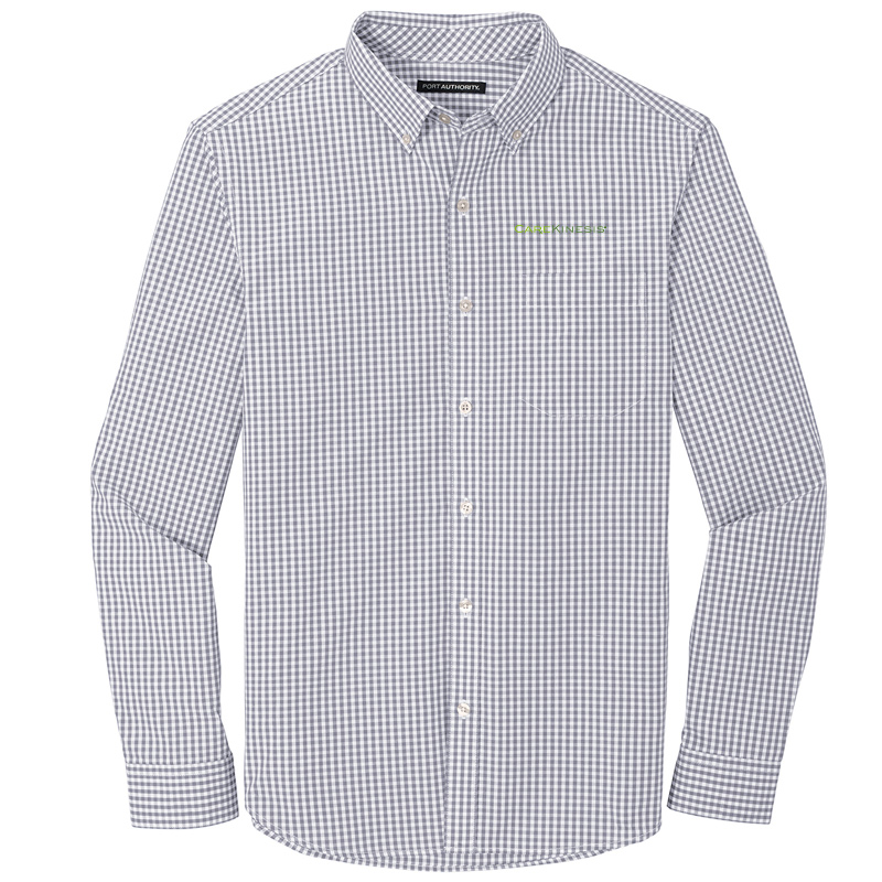 CareKinesis Port Authority ® Broadcloth Gingham Easy Care Shirt - GustyGrey
