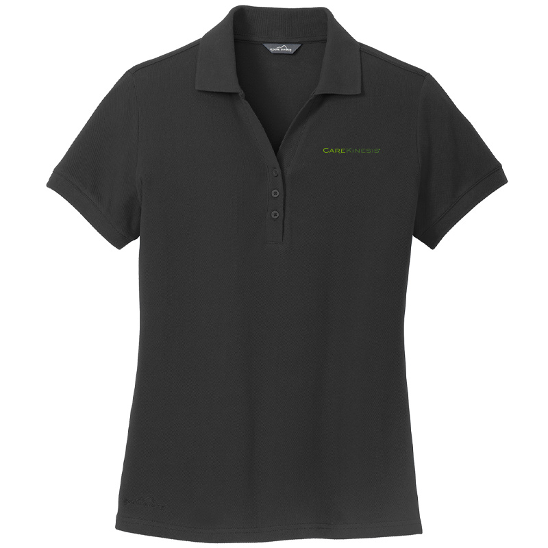 CareKinesis Eddie Bauer® Ladies Cotton Pique Polo - Black