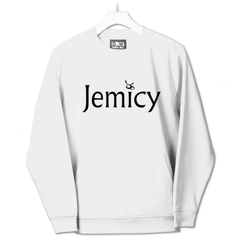 Jemicy Text Baw Adult Crewneck Sweatshirt  - White