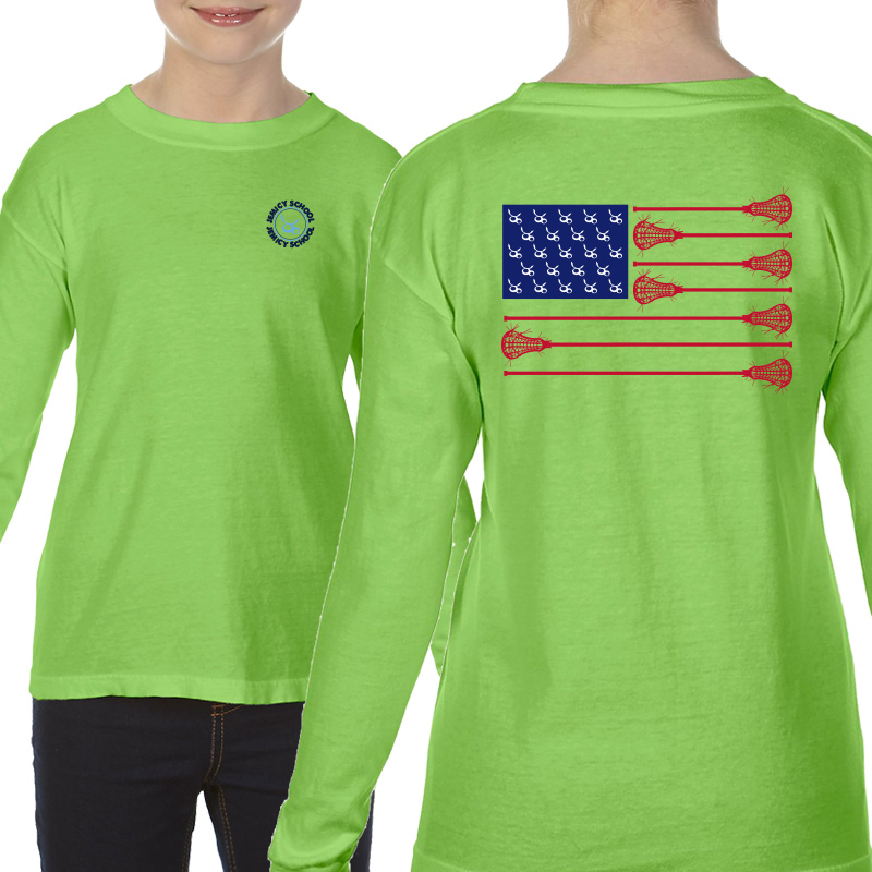 Jemicy LaxFlagYouth  Long Sleeve T-Shirt - Lime